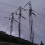 Canada: Guyed galvanized steel triple mast tower (500kV) near BC/AB border [Picture by Ian Kozicky]